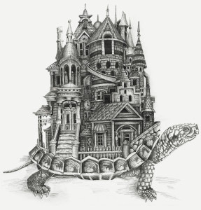 "36""x36"" pen and ink of turtle carrying a city."